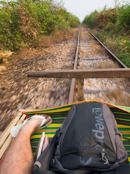 Riding with the Wind. Bamboo Train at Battambang.