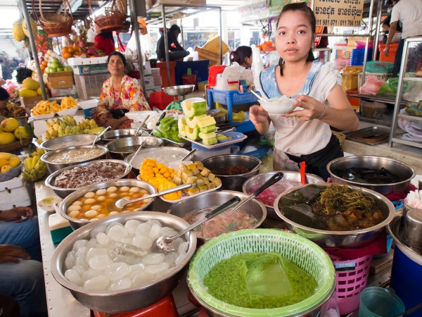 Dessert Vendor at Phnom Penh's Old Market