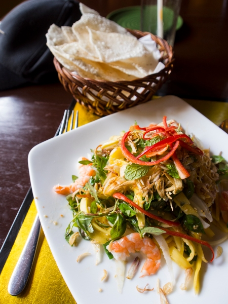 Mixed mango salad at the more upmarket Morning Glory Restaurant in Hoi An. Not a common dish in Vietnam but retains the essence of Vietnamese cooking. Fresh and full of flavour.