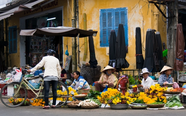 Flower Vendors In Front of Hoi An's Market